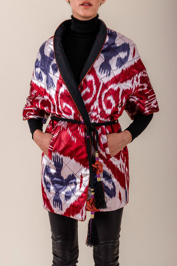 Ikat Reversible Jacket -Black & Brick Jacket RoseWaterHouse