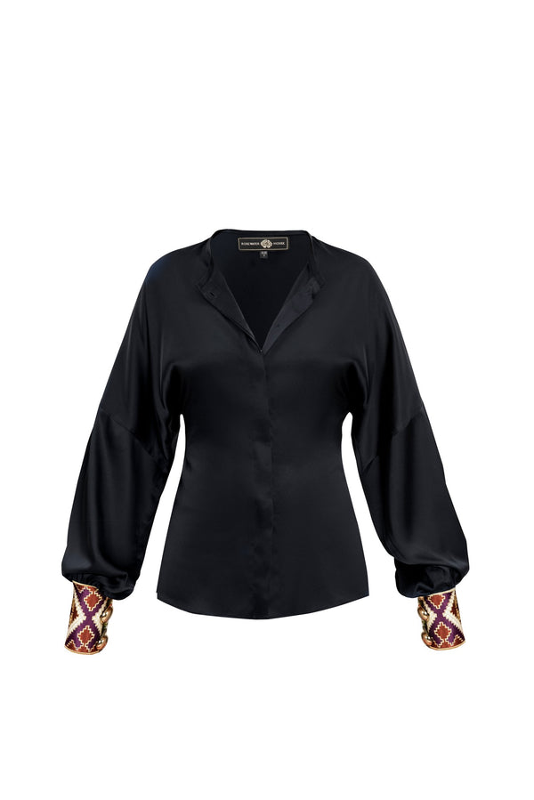 Silk Yar Blouse - Black Tops RoseWaterHouse