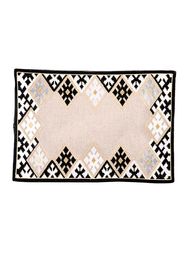 Hand-Embroidered Placemats - Black RoseWaterHouse
