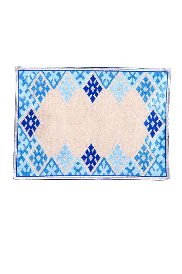 Hand-Embroidered Placemats - Blue & Silver RoseWaterHouse