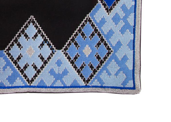 Hand-Embroidered Placemats - Blue & Black RoseWaterHouse