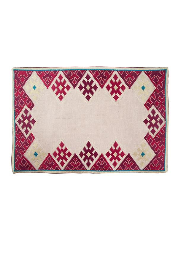 Hand-Embroidered Placemats - Pink & Blue RoseWaterHouse