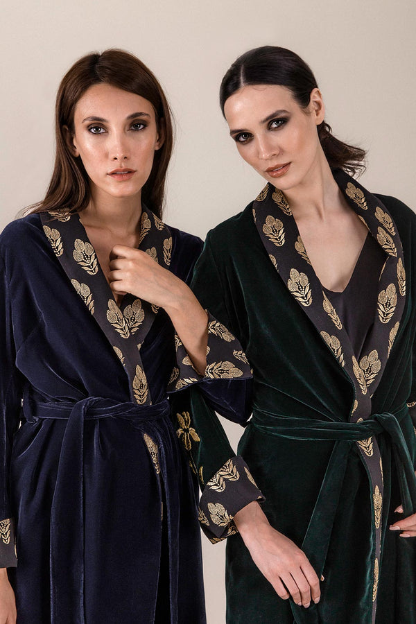 Mahtab Robe - NAVY CHINOSERIE Rosewater House