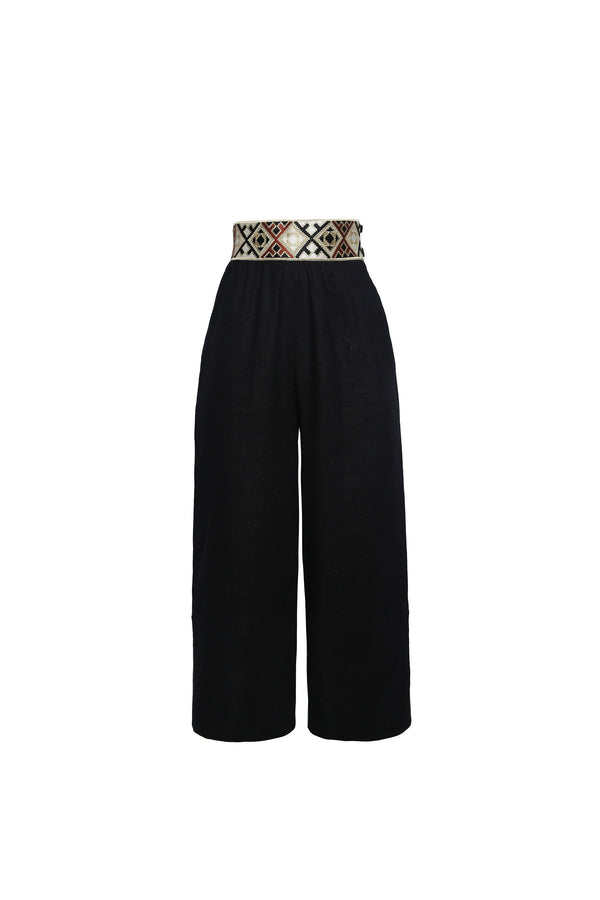 Raha Wide Leg Cropped Pants - Black Pants Rosewater House
