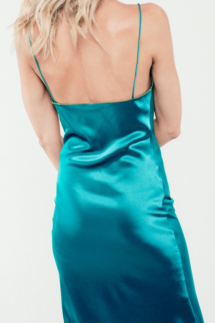 Darya Slip Dress - Turquoise Dress RoseWaterHouse