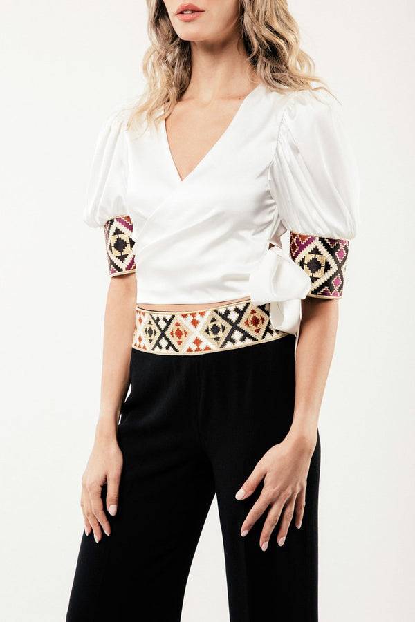 Embroidered Del Blouse - Ivory