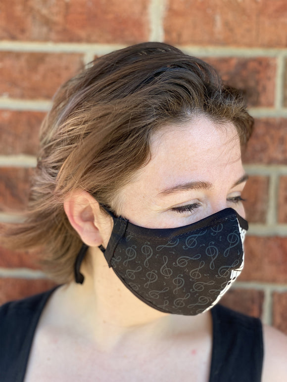 Two Layer Fully Wired Protective Cloth Face Mask - Made in USA - Black and White Music, Adult