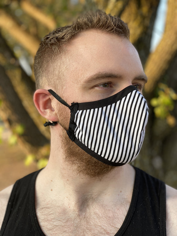 Two Layer Fully Wired Protective Cloth Face Mask - Made in USA - Black and White Stripe, Adult