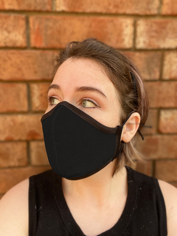 Four Layer Fully Wired Protective Cloth Face Mask - Made in USA - Black, Adult