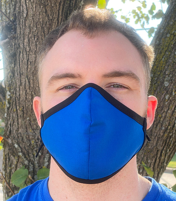 Four Layer Fully Wired Protective Cloth Face Mask - Made in USA - Blue, Adult