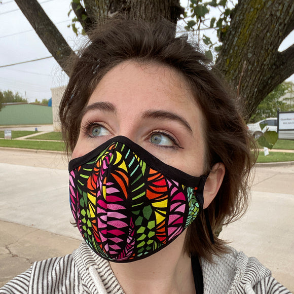 Two Layer Fully Wired Protective Cloth Face Mask - Made in USA - Bright Zentangle, Adult