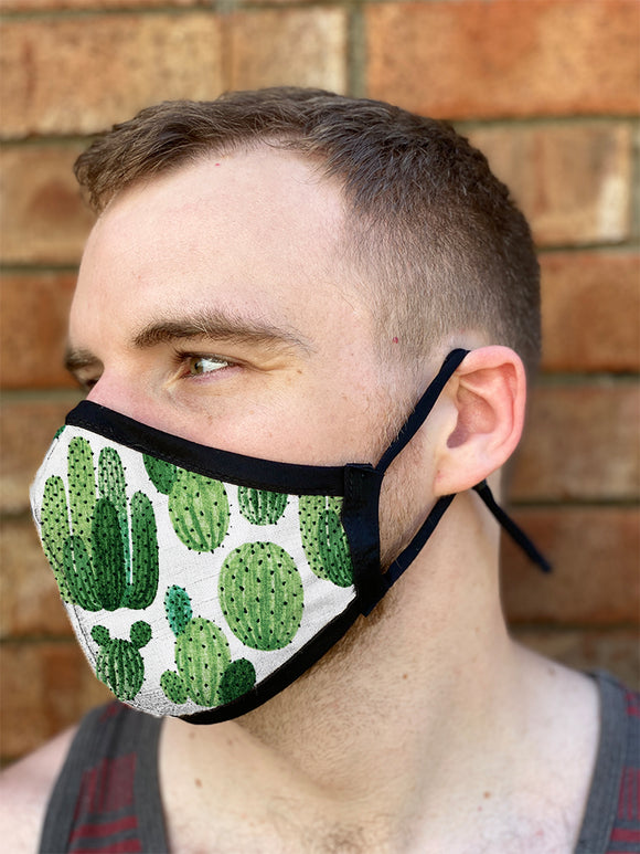Four Layer Fully Wired Protective Cloth Face Mask - Made in USA - Cactus, Adult