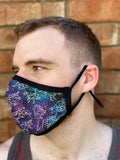 Four Layer Fully Wired Protective Cloth Face Mask - Made in USA - Celestial Dinosaurs, Adult