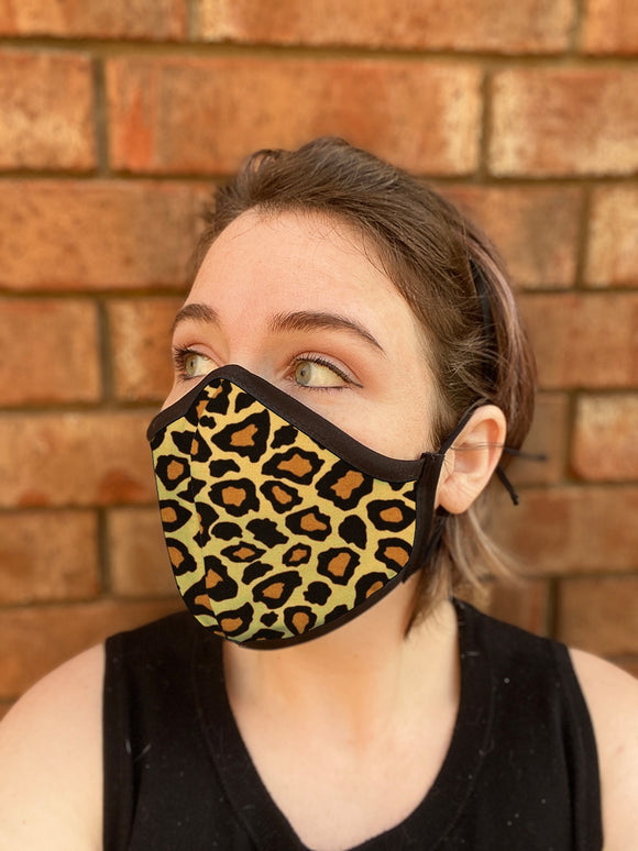 Four Layer Fully Wired Protective Cloth Face Mask - Made in USA - Cheetah, Adult
