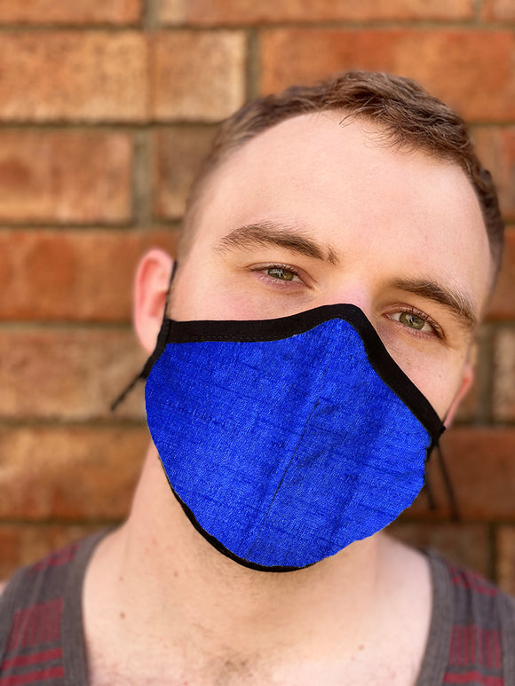 Four Layer Fully Wired Protective Cloth Face Mask - Made in USA - Cobolt Blue Silk, Adult