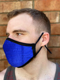 Two Layer Fully Wired Protective Cloth Face Mask - Made in USA - Cobolt Blue Silk, Adult