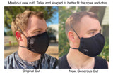 Four Layer Protective Cloth Face Mask - Ear Saver Behind the Head Elastic - Made in USA - Black, Curvy Cut