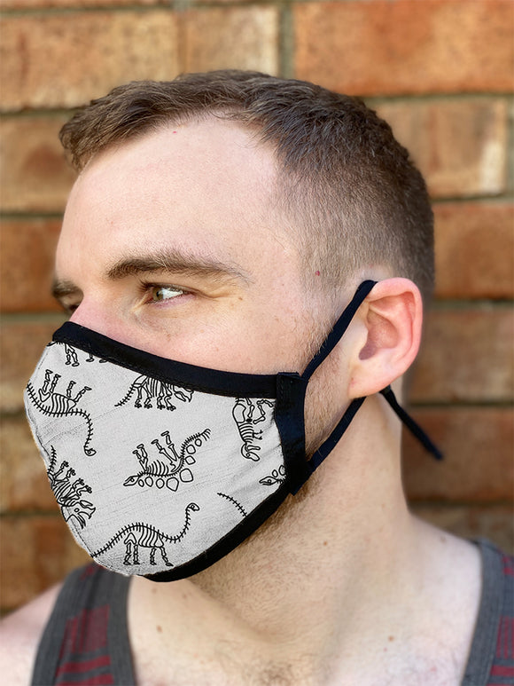 Four Layer Fully Wired Protective Cloth Face Mask - Made in USA - Dinosaurs, Adult