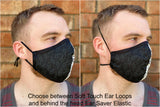 Four Layer Protective Cloth Face Mask - Ear Saver Behind the Head Elastic - Made in USA - Coffee, Curvy Cut
