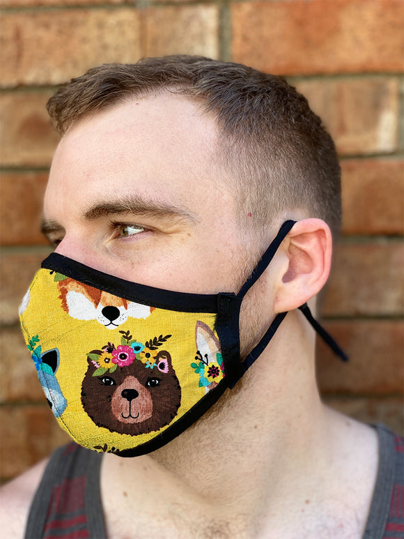 Four Layer Fully Wired Protective Cloth Face Mask - Made in USA - Flower Crown Animals, Adult