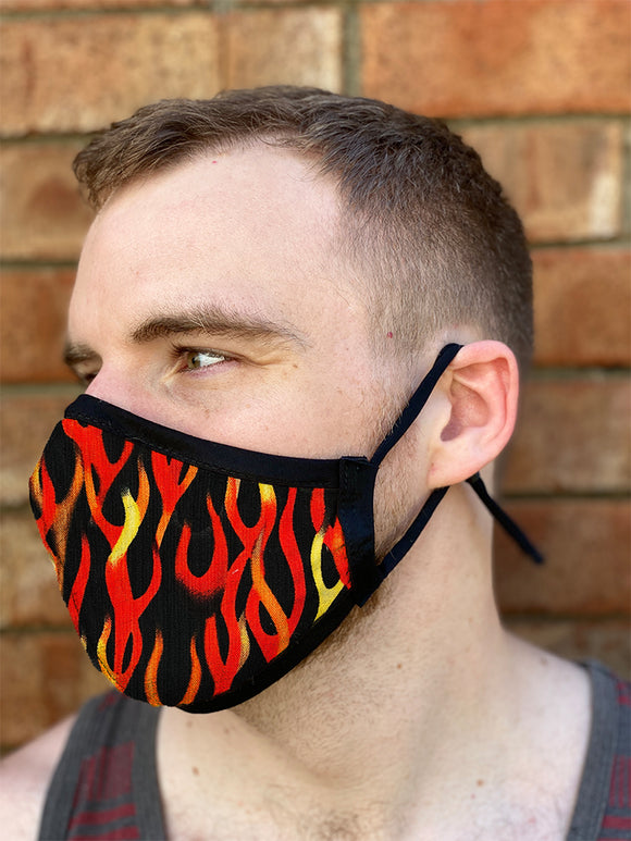 Four Layer Fully Wired Protective Cloth Face Mask - Made in USA - Flame, Adult