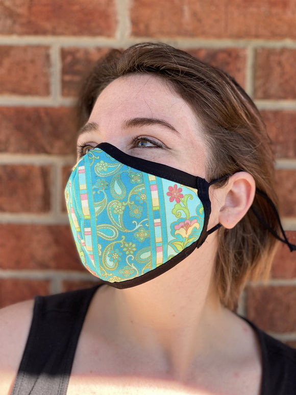Two Layer Fully Wired Protective Cloth Face Mask - Made in USA - Green Flower Paisley, Adult