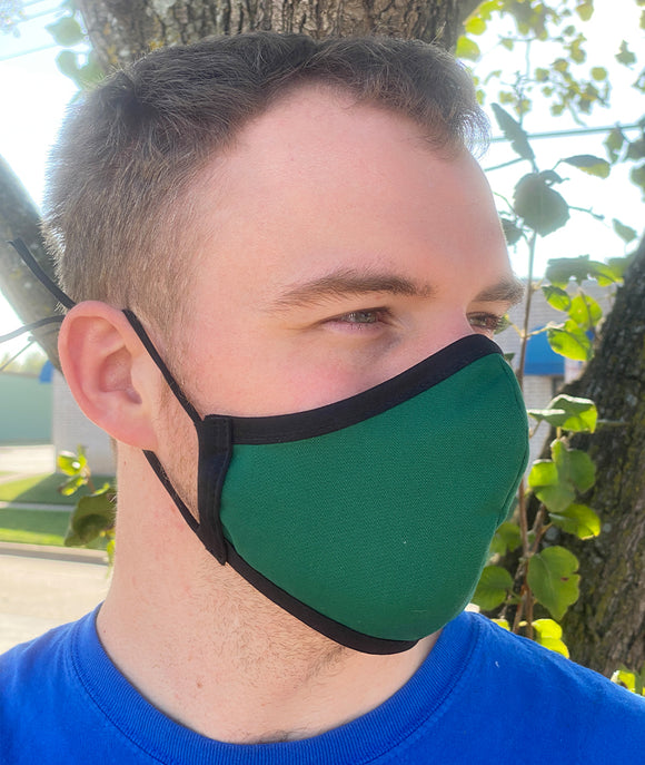 Four Layer Fully Wired Protective Cloth Face Mask - Made in USA - Green, Adult