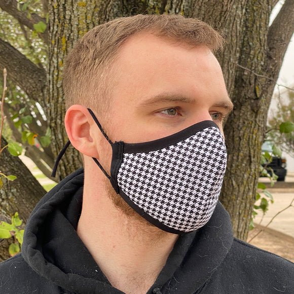 Two Layer Fully Wired Protective Cloth Face Mask - Made in USA - Black Houndstooth, Adult