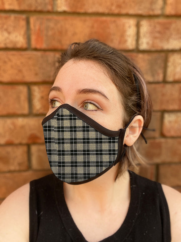 Four Layer Fully Wired Protective Cloth Face Mask - Made in USA - Black Cream Silver Plaid, Adult