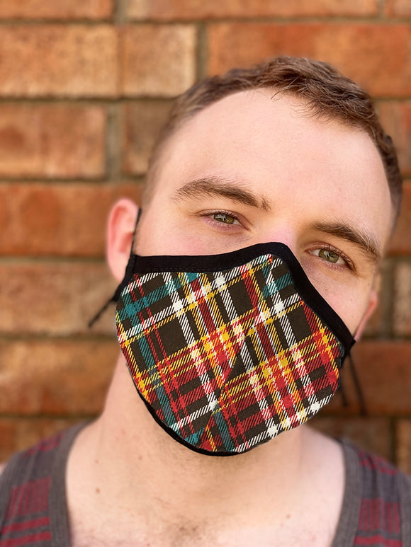 Four Layer Fully Wired Protective Cloth Face Mask - Made in USA - Plaid Fall, Adult