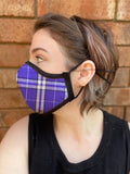 Two Layer Fully Wired Protective Cloth Face Mask - Made in USA - Purple Plaid Flannel, Adult