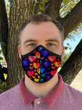 Two Layer Fully Wired Protective Cloth Face Mask - Made in USA - Rainbow Hearts, Adult