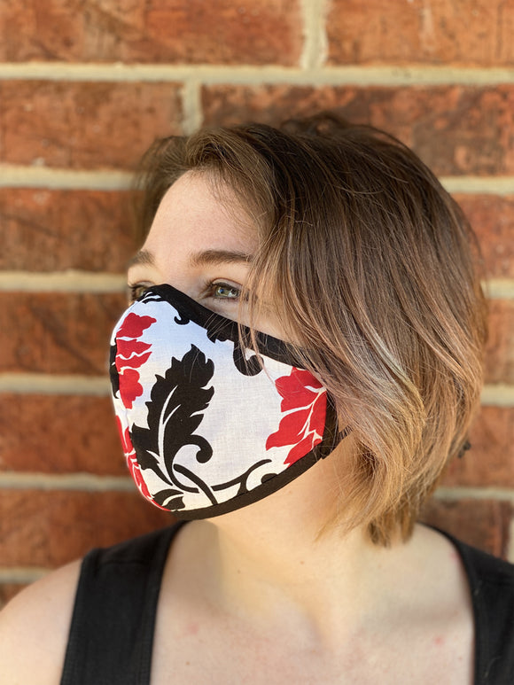 Two Layer Fully Wired Protective Cloth Face Mask - Made in USA - Red and Black Flower, Adult