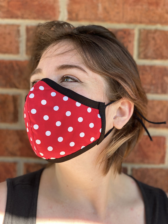 Two Layer Fully Wired Protective Cloth Face Mask - Made in USA - Red Polka Dot, Adult
