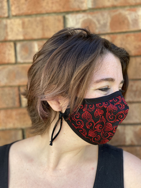 Four Layer Fully Wired Protective Cloth Face Mask - Made in USA - Red and Black Scroll Leaf, Adult