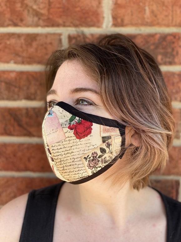 Two Layer Fully Wired Protective Cloth Face Mask - Made in USA - Rose Love Note, Adult