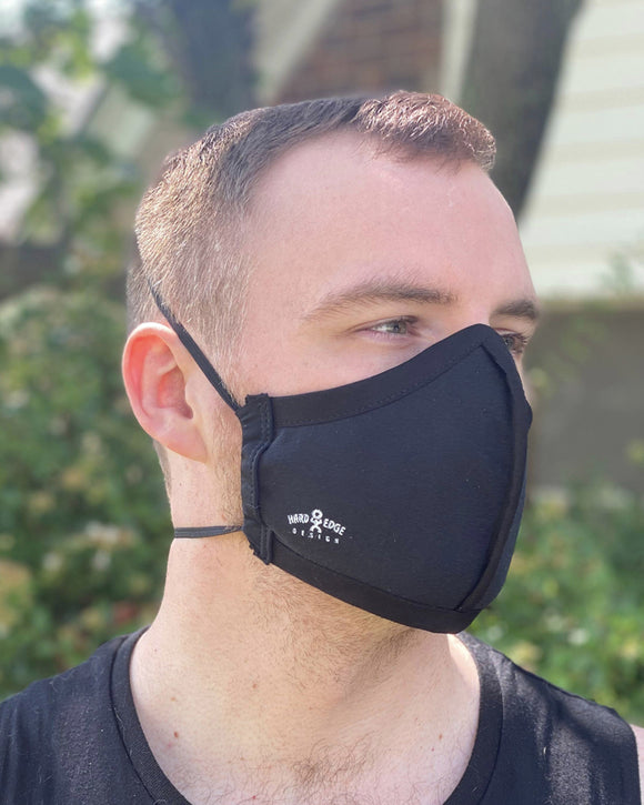 Summer Weight Two Layer Protective Cloth Face Mask - Ear Saver Behind the Head Elastic - Made in USA - Black, Curvy Cut