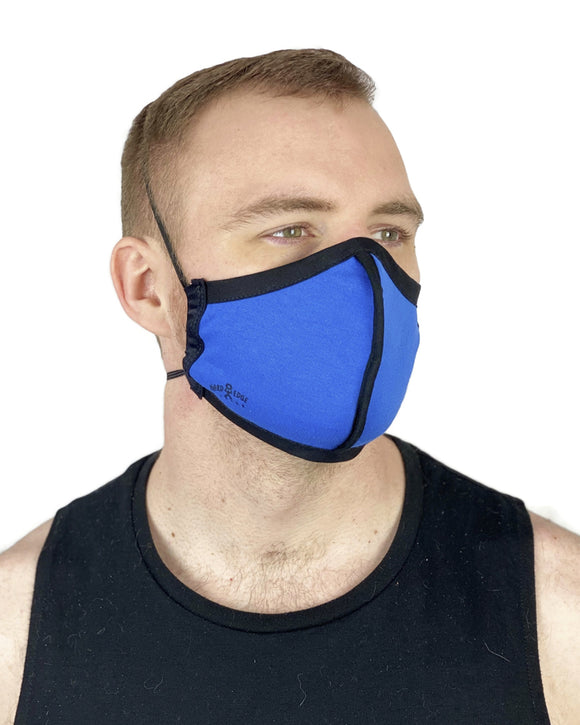 Summer Weight Two Layer Protective Cloth Face Mask - Ear Saver Behind the Head Elastic - Made in USA - Blue, Curvy Cut