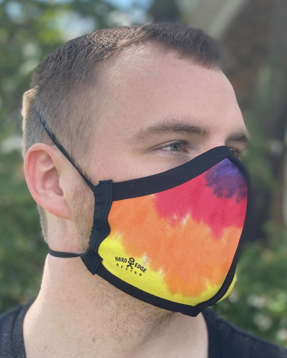 Summer Weight Two Layer Protective Cloth Face Mask - Ear Saver Behind the Head Elastic - Made in USA - Classic Tie-Dye, Curvy Cut