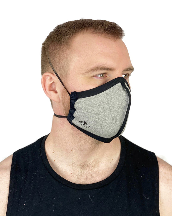 Summer Weight Two Layer Protective Cloth Face Mask - Ear Saver Behind the Head Elastic - Made in USA - Heather Grey, Curvy Cut