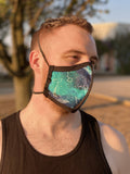 Four Layer Protective Cloth Face Mask - Ear Saver Behind the Head Elastic - Made in USA - Celestial Whale, Curvy Cut