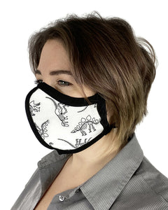 Four Layer Protective Cloth Face Mask - Ear Saver Behind the Head Elastic - Made in USA - Dinosaurs, Curvy Cut