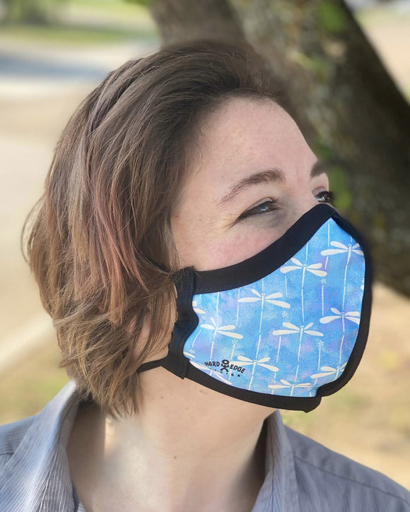Four Layer Protective Cloth Face Mask - Ear Saver Behind the Head Elastic - Made in USA - Dragonfly, Curvy Cut