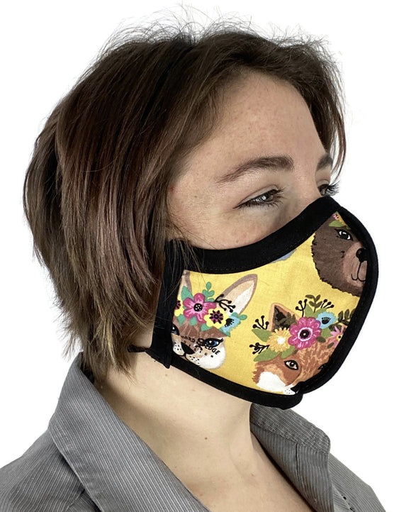 Four Layer Protective Cloth Face Mask - Ear Saver Behind the Head Elastic - Made in USA - Flower Crown Animals, Curvy Cut