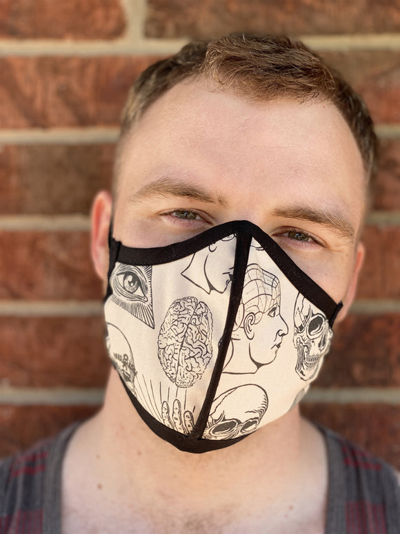 Four Layer Protective Cloth Face Mask - Ear Saver Behind the Head Elastic - Made in USA - Frenology, Curvy Cut