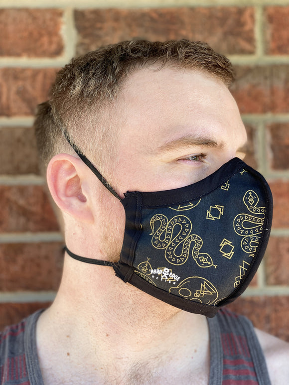Four Layer Protective Cloth Face Mask - Ear Saver Behind the Head Elastic - Made in USA - Glam Occult, Curvy Cut