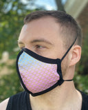 Four Layer Protective Cloth Face Mask - Ear Saver Behind the Head Elastic - Made in USA - Gradient Mermaid, Curvy Cut