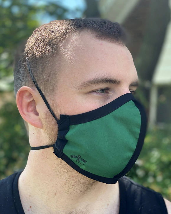 Four Layer Protective Cloth Face Mask - Ear Saver Behind the Head Elastic - Made in USA - Green, Curvy Cut