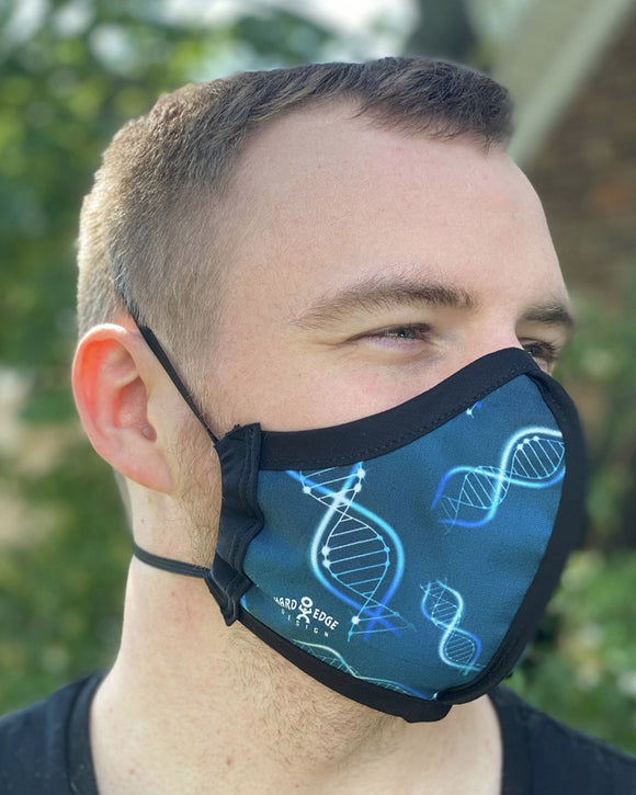 Four Layer Protective Cloth Face Mask - Ear Saver Behind the Head Elastic - Made in USA - Life Science, Curvy Cut