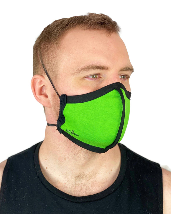 Summer Weight Cloth Face Mask - Ear Saver Behind the Head Elastic - Neon Green, Adult Curvy Cut
